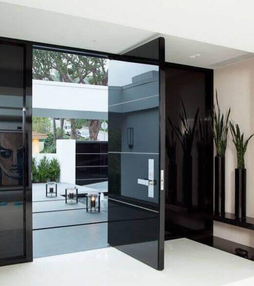 Черна модерна Блиндирана входна врата